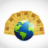 Credit cards and globe illustration Stock Photo