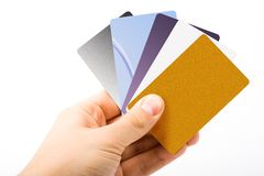 Credit cards in hand Stock Photo