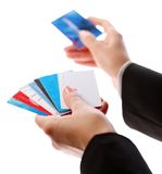 Credit cards in the hands Stock Image