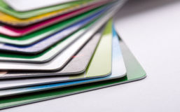 Credit cards. Heap of colorful credit cards Royalty Free Stock Photo
