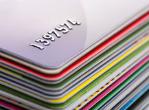 Credit cards. Heap of colorful credit cards Royalty Free Stock Photography