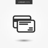 Credit cards icon vector illustration. Isolated bank cards symbol. Banking payment line concept. Plastic money graphic design. Debit cards outline symbol for Royalty Free Stock Photography