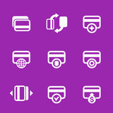 Credit cards icons set for internet banking app. Secure payments and transactions, processing, add funds Royalty Free Stock Image