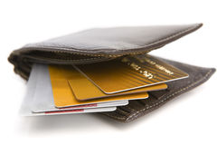 Credit cards inside wallet Stock Photo