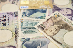 Credit cards and Japanese yen. Royalty Free Stock Image