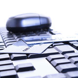 Credit cards on the keyboard Royalty Free Stock Image