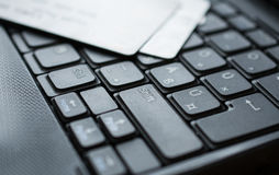 Credit cards on keyboard Royalty Free Stock Photography