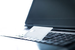 Credit cards and laptop Royalty Free Stock Photography