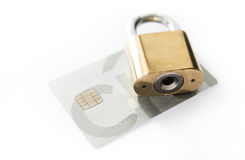 Credit cards and lock, business security Royalty Free Stock Photos