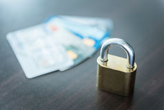 Credit cards and lock, business security Stock Photos