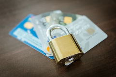 Credit cards and lock, business security Stock Photography