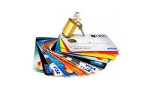 Credit cards and lock Royalty Free Stock Photography