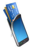 Credit cards in the mobile phone Stock Images
