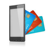 Credit cards and mobile phone Stock Image