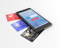 Credit cards and mobile phone Stock Photos