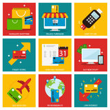 Credit cards nine flat items concept Royalty Free Stock Photos