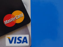 Credit cards over blue with copy space Royalty Free Stock Images