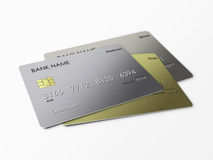 Credit cards over white royalty free stock images