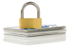 Credit cards and padlock Stock Photography