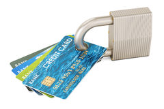 Credit cards and padlock, security payment concept. 3D rendering. On white background Stock Image