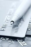 Credit cards and pen Stock Image