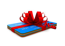 Credit cards with ribbon Royalty Free Stock Photography