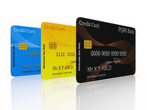 Credit Cards in a Row. A 3D illustration of three credit cards standing vertically in a row. Best for use in credit financing concepts Stock Image