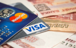 Credit cards and Russian money Stock Photos