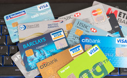 Credit cards scattered stock photos
