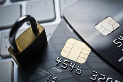 Credit cards security concept. Security lock on credit cards / Credit cards data encryption for security concept Royalty Free Stock Photo