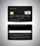 Credit cards set with black striped background. Realistic detailed credit cards set with black striped abstrct background design. Front and back side template Royalty Free Stock Photos