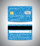 Credit cards set with floral background design. Realistic detailed credit cards set with colorful blue floral abstract design background. Front and back side Royalty Free Stock Photos
