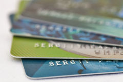 Credit cards set macro Royalty Free Stock Photography