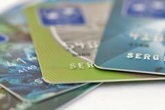 Credit cards set macro Royalty Free Stock Photo