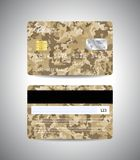 Credit cards set with military background design. Realistic detailed credit cards set with camouflage military abstract beige background design. Front and back Stock Image