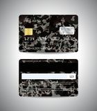Credit cards set with military background. Realistic detailed credit cards set with camouflage military abstract background design. Front and back side template Stock Photography