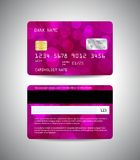 Credit cards set with pink design background. Realistic detailed credit cards set with colorful pink abstract design background with bokeh lights. Front and back Royalty Free Stock Photos