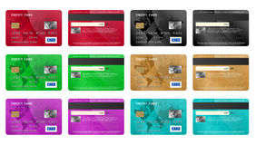 Credit cards set, realistic style Stock Image
