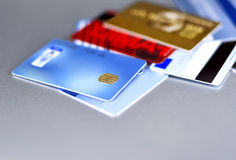 Credit Cards on a silver background Stock Image