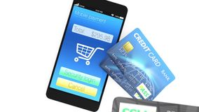 Credit cards and smartphone stock footage