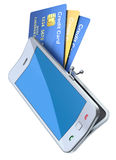 Credit cards in the smartphone purse Royalty Free Stock Photos