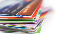 Credit cards stack close up Royalty Free Stock Photography
