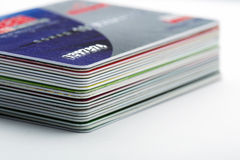 Credit cards. Stack of colorful credit cards Royalty Free Stock Photo
