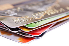 Credit cards. Stack of credit cards, macro color Royalty Free Stock Photography