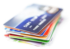 Credit cards stack. On white Royalty Free Stock Photography