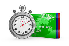 Credit cards and stopwatch Stock Images