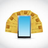 Credit cards and tablet illustration Stock Images
