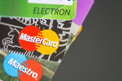 Credit cards Visa Maestro Mastercard. MOSCOW, RUSSIA-July 29, 2015: Credit cards Visa Maestro Mastercard Stock Photography