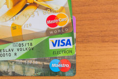 Credit cards Visa Maestro Mastercard Royalty Free Stock Photos