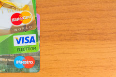 Credit cards Visa, Maestro, Mastercard. Royalty Free Stock Photography